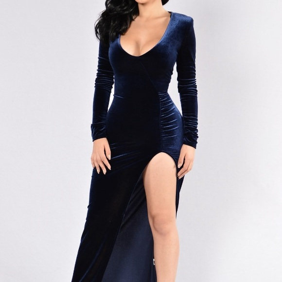 Velvet blue semi formal dress